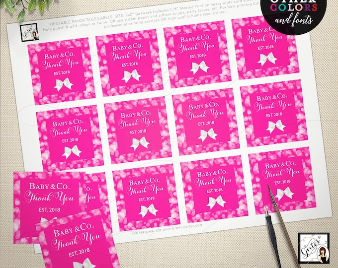 "Baby and Co thank you tags, baby and co printable favors labels toppers decorations, party thank you girl shower, birthday 2x2"" 12 Per Sheet"