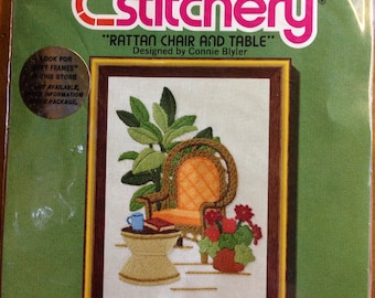 "Rattan Chair And Table, 5"" x 7"" Jiffy Stitchery Crewel Embroidery Kit #371, Sunset Designs"