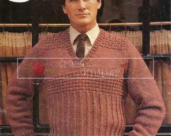 "Men's Sweater 36-44"" Chunky Sirdar 6383 Vintage Knitting Pattern PDF instant download"
