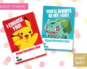 Pokemon Valentine's Day Card Printable - Instant Download