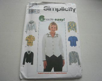 Pattern Women Blouse 6 Styles Sizes 14-16-18 Simplicity 8468