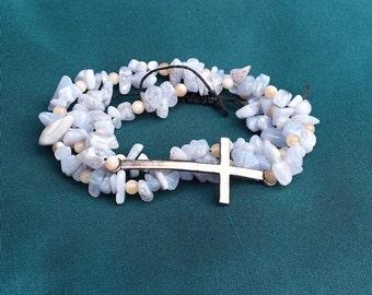 Prayer No2 - bracelet beads blue agate and quartz
