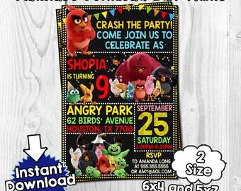 Angry Birds invitation, angry birds Birthday, angry birds invites, angry birds PDF, angry birds instant, invitation angry birds invite,