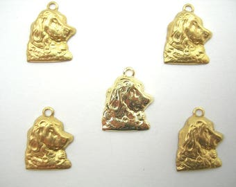 LOT 5 METALS CHARMS Gold: head of Setter 13 mm