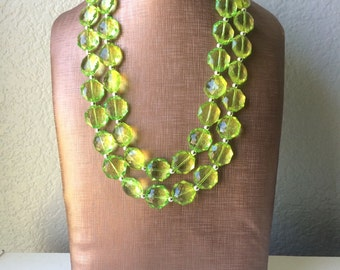 Apple Green Double Strand statement necklace - pretty big beaded chunky jewelry