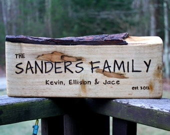 Custom Rustic Wood Sign - Large-Long - Personalized Gift - Hand Engraved - Unique wedding gift- Family Established Wood Sign