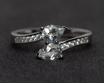 white topaz ring silver pear cut engagement ring double stone rings natural white topaz gemstone rings