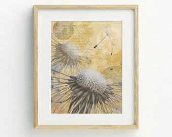 Dandelion Art Print, A4, Original Artwork, Dandelions Wall Art, Illustration Print, Bohemian Decor, Flower Art Print, Archival Print, Boho