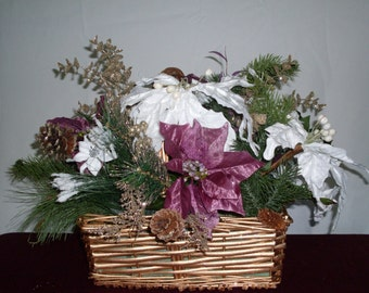 This is a beautiful Christmas basket that is not traditional.  In colors of  purple and white it is definitely an elegant touch.