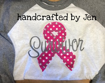 "Survivor awareness ribbon Raglan Shirt ""raggy"" embroidery breast Cancer"