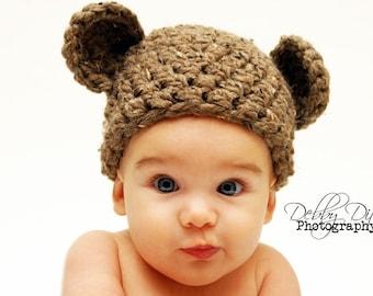 Handmade Newborn Teddy Bear Hat in Brown
