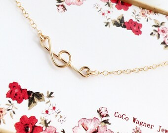 Treble Clef Necklace, Sideways Treble Clef Necklace, In Gold, Rose Gold and Silver, Everyday Jewelry, Wire Jewelry