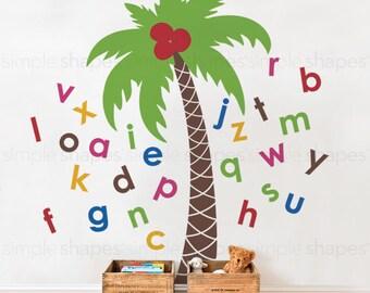 Alphabet Palm Tree Wall Decal - Nursery Wall Decal - Nursery Decals