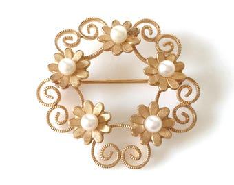 Floral 12K Gold Filled Cultured Pearl Brooch