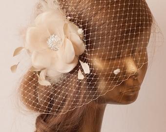 Champagne Birdcage Veil with Flower Fascinator.Bridal FAscinator.