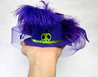 Purple Fascinator Hat Day of the Dead Mini Top Hat Skull Hair Accessory
