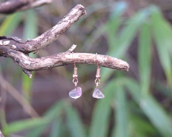 Purple Flourite Crystal and Rose Gold Earrings