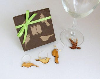 Bird Wine Charm Gift Box Set - Made from Sustainable Harvest Wisconsin Wood . Timber Green Woods