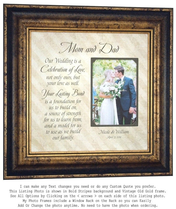 Groom Wedding Gift to Mom and Dad Wedding Personalized