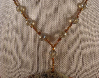 Blossom Agate Fan Pendant with Faceted Crystal Glass and Seed Beads Necklace