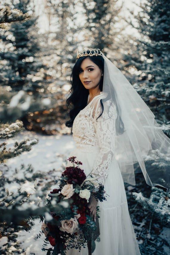 Drop Veil, Hip Length Blusher Veil, Wedding Veil, Bridal Veil, Simple Veil, Classic Veil with Blusher, Simple Veil, Wedding Veil, ADELINA