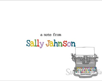 10 Personalized Old Typewriter Note cards