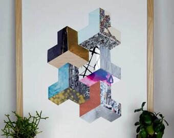 3D Geometric Collage Original