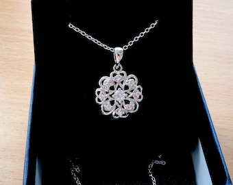Diamond necklace pendant necklace gift ideas for her gifts Women necklace for mom Silver pendant Round pendant Simple necklace flower gift