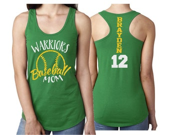 Glitter Baseball Mom Tank Top Racer Back |Customize Your Colors