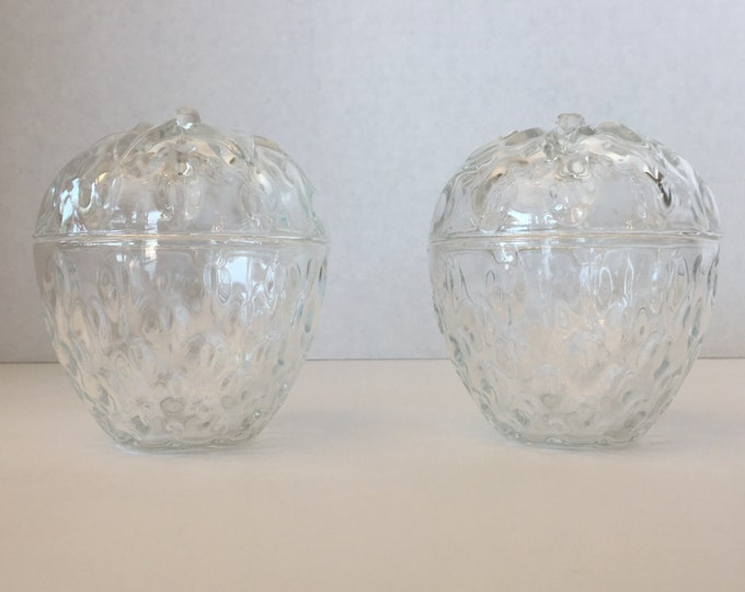 Set of Glass Strawberry Candy Dishes Jars