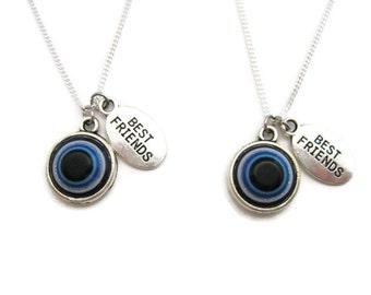 Blue Eye Necklace Set  Best Friends Necklace Set Eyeball Necklace Blue Eye Jewelry Bff Best Friend Jewelry Eyeball Jewelry Bf Necklace Set