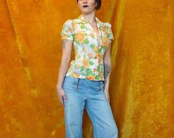 Vintage 50's Sheer White Flower Pattern Short Sleeve Blouse/ Sheer Cream Orange Floral Pattern Blouse with Orange Buttons/