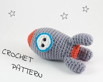 Amigurumi rocket ship stuffed toy crochet pattern - crochet space rocket toy - pdf tutorial US English