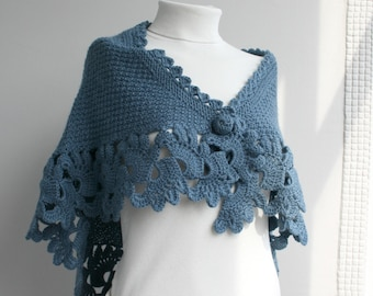 Blue Capelet Shawl Mothers Day Gift under75