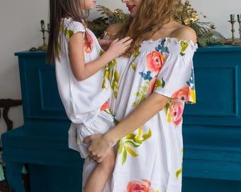Off shoulder Matching Mommy Baby dresses - Matching Outfit, Mom and Me, Matching dresses, Mini Me, Shift dress, tunic dress, floral dresses