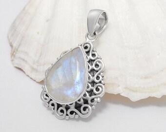 Sterling Silver Rainbow Moonstone Gemstone Pendant