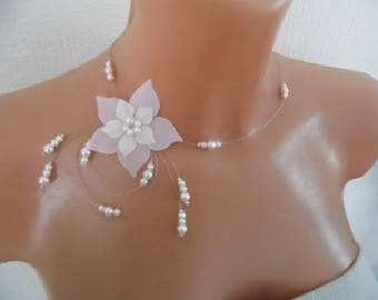 wedding bridal necklace Pearl white silk flower (or ivory) and pink light ceremony evening parties