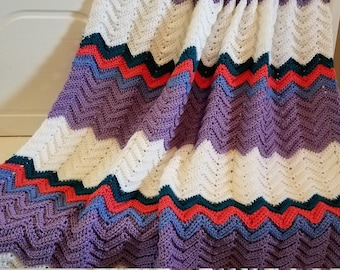 Ripple Afghan White, Lavender, Coral and Teal Colors - Ready to Ship