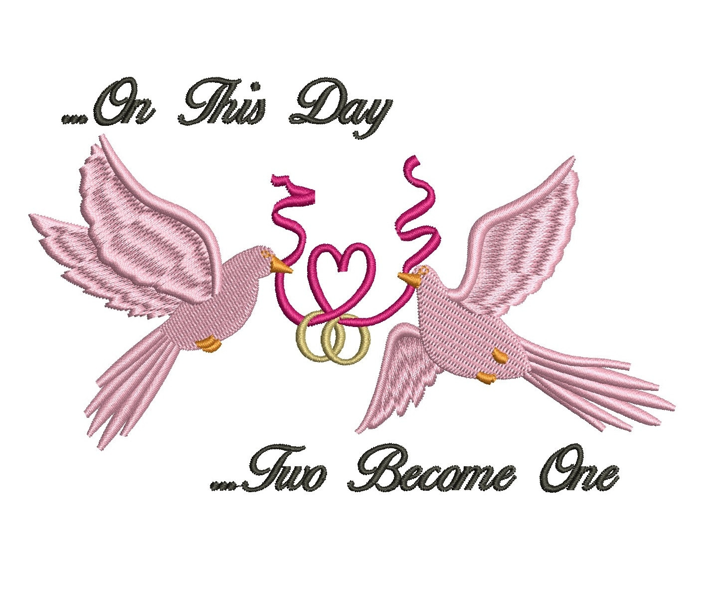 Two Doves with hear wedding Filled machine embroidery design