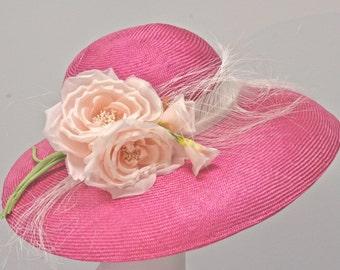 Black Kentucky Derby Hat, Women's Black Straw Hat