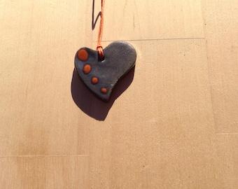 black and orange heart ceramic necklace