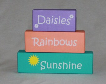Daisies Rainbows Sunshine Stacked Wood Blocks - Springtime - Mantle Decor - Painted Blocks - Stacked Wood Blocks - Stacked Blocks