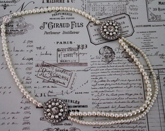 Statement Pearl Wedding Necklace - Art Deco Style Wedding Necklace - Rhinestone Necklace - Great Gatsby - Bridal