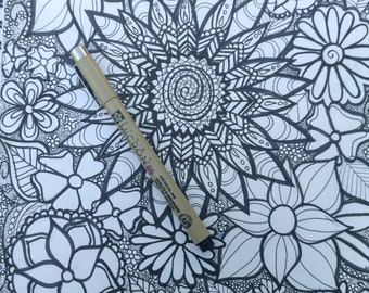 Hand drawn coloring page flowers