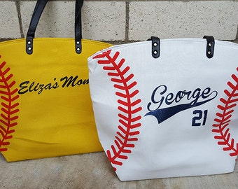 PREORDER Personalized Softball Mom Tote Bags Yellow Softball Bag Tote Bag Spirit Wear Custom Last Name Nickname Number, Will ship end of May