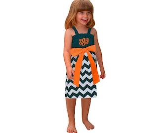 Green + Orange Chevron Dress- Girls