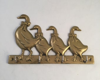 Vintage Solid Brass Key Rack, Holder, Ducks/Geese in a Row, Family in a Line, Upper Deck Dated 1987