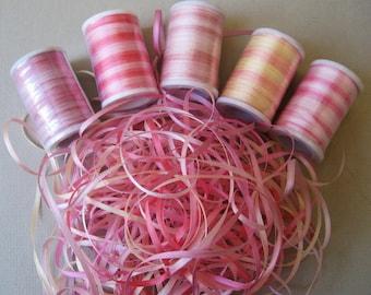 Pretty Pinks Mix - 15 metres of 2mm variegated silk ribbon