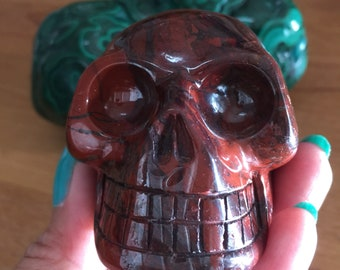 Red Jasper Skull from Brazil. Shiny deep red rustic color. So pretty. Rock & Mineral Collections/Healing Power/Positive Energy SN 580