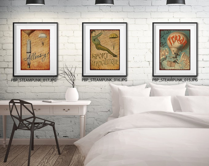 STEAMPUNK WALL SET-3 Framed And Matted Prints - Free Shipping - Black Or  White Frames - In 4 Sizes - Mix And Match - Create a Gallery Wall